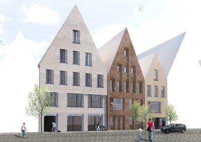 Fassadengestaltung von drei Stadthäusern in Lübeck